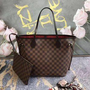 NWT LV NEVERFULL MM Cerise Monogram Bag Red